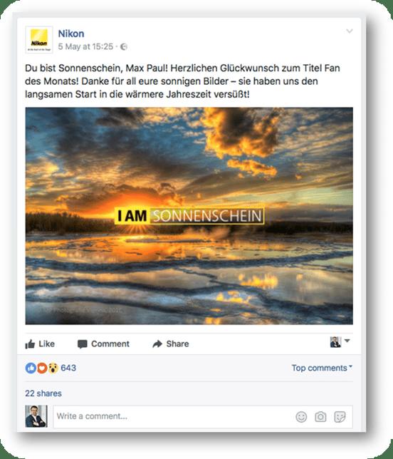 Beispiel für Social-Media-Inhalt