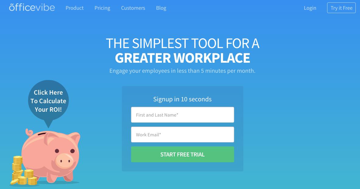 HubSpot – Anatomie einer Website, die Leads generiert – Homepage von Officevibe