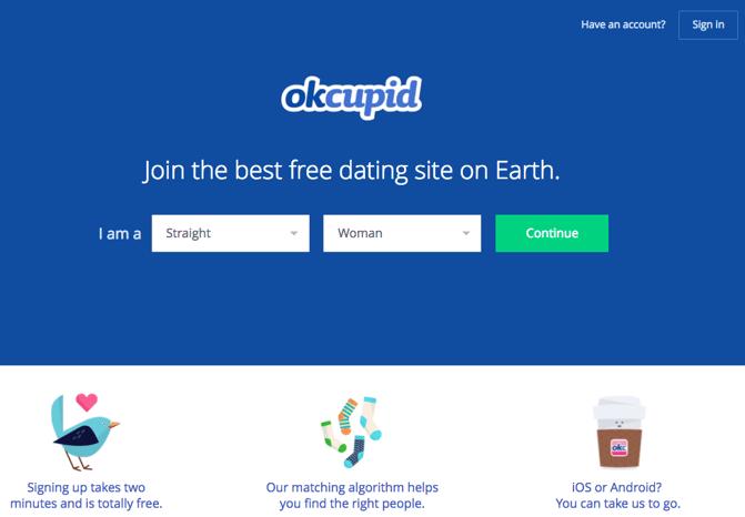 CTA auf der Website von OK Cupid