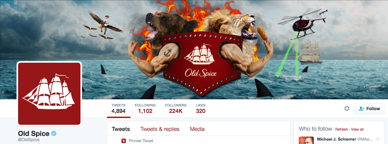 Beispiel eines gelungenen Twitter-Titelbilds - Old Spice