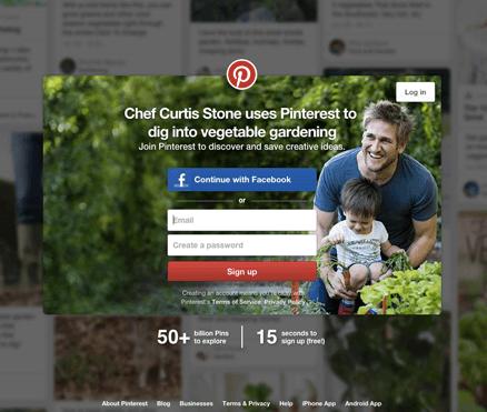 CTA zur Anmeldung bei Pinterest