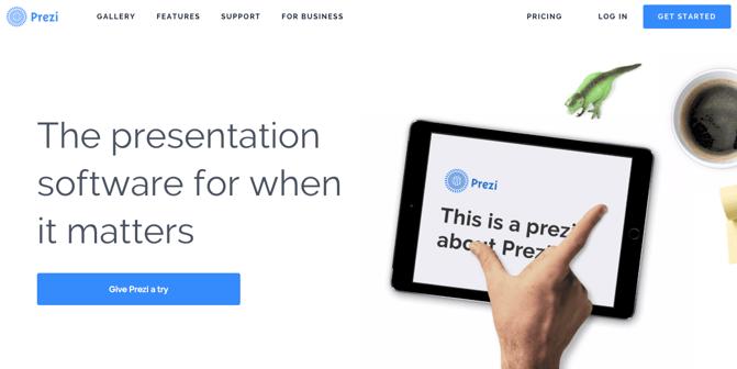 CTA auf der Homepage von Prezi