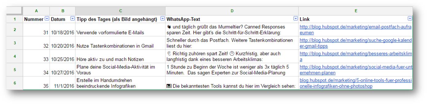 WhatsApp-Redaktionsplan