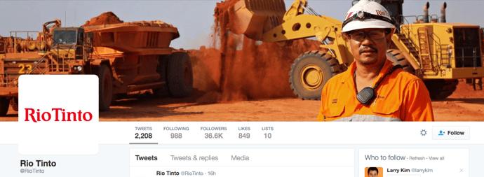 Beispiel eines gelungenen Twitter-Titelbilds - RioTinto