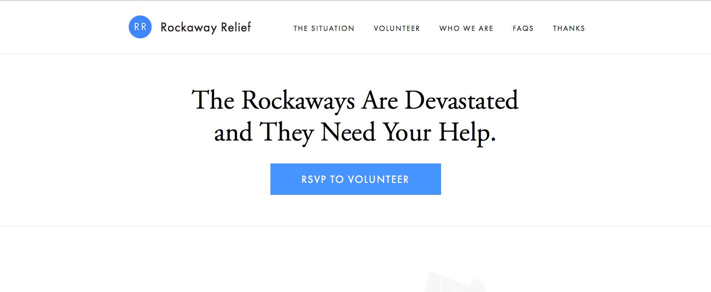 rockaway-relief-homepage-einfaches-design