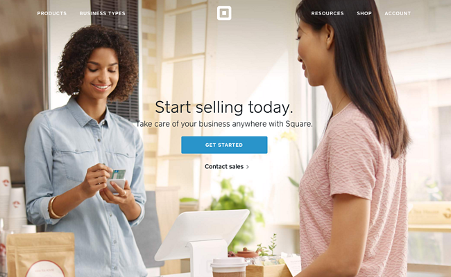 Call-to-Action auf der Homepage von Square