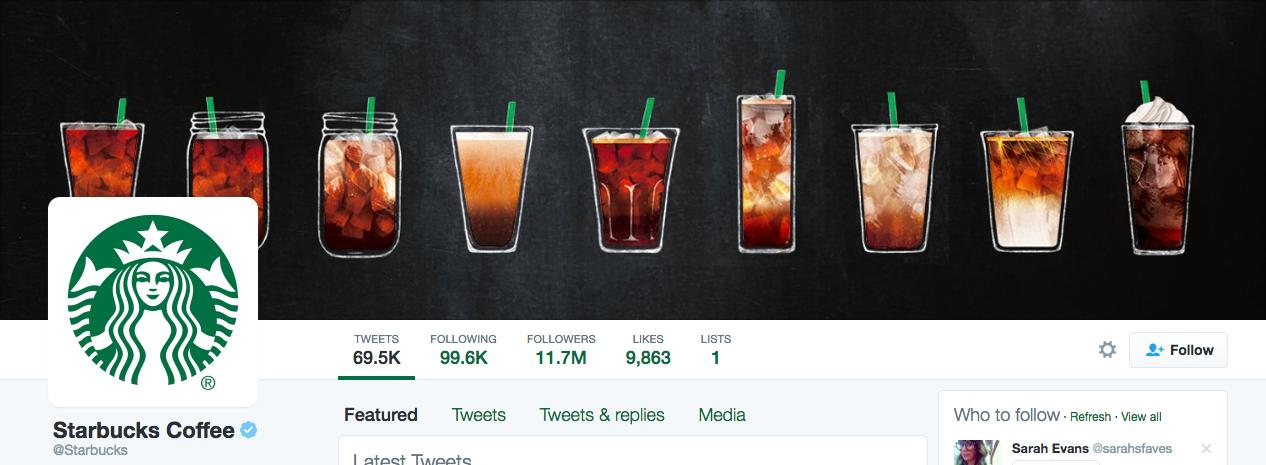 Beispiel eines gelungenen Twitter-Titelbilds - Starbucks