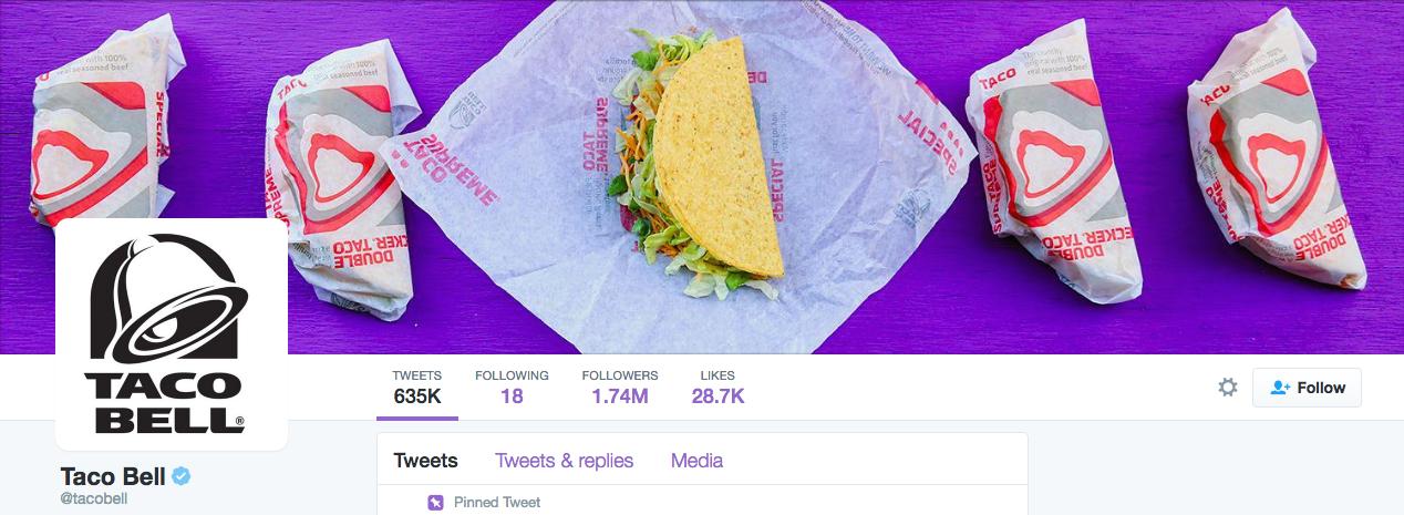 Beispiel eines gelungenen Twitter-Titelbilds - Taco Bell