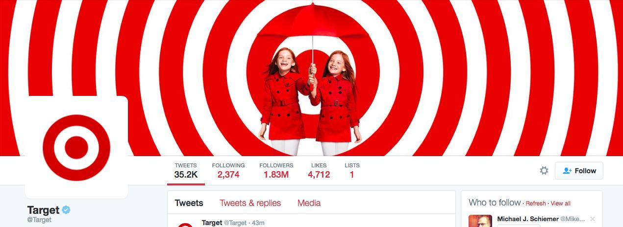 Beispiel eines gelungenen Twitter-Titelbilds - Target