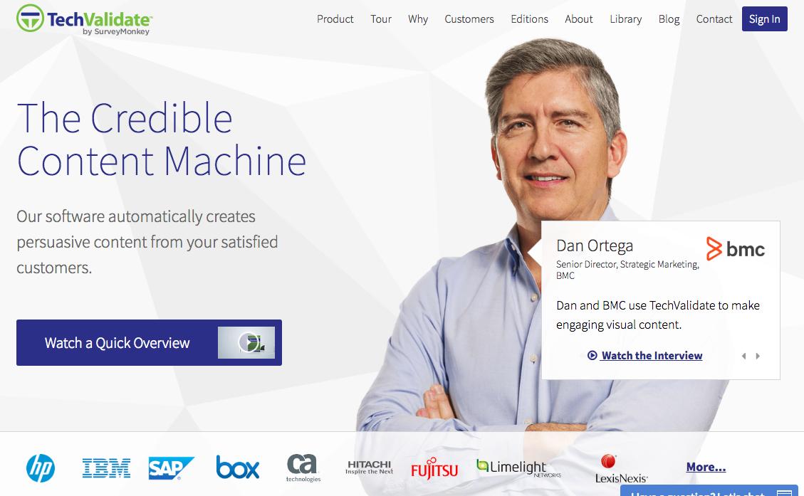 Beispiele von gutem Homepage-Design - TechValidate