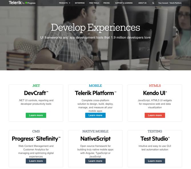 Beispiele von gutem Homepage-Design - Telerik