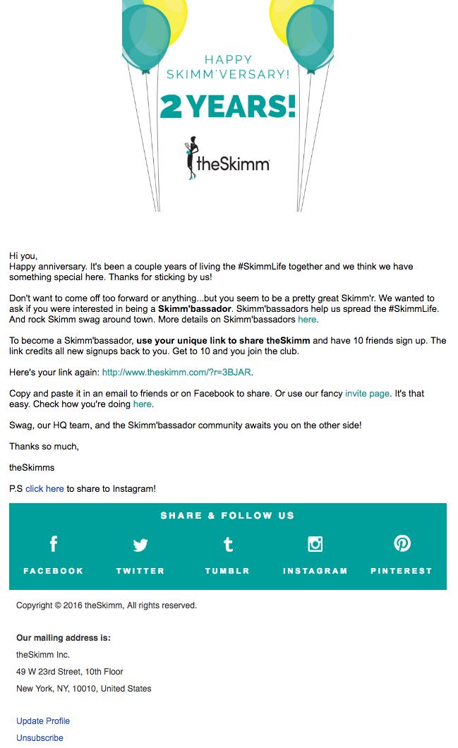 Beispiele herausragender E-Mail-Marketing-Kampagnen – theSkimm