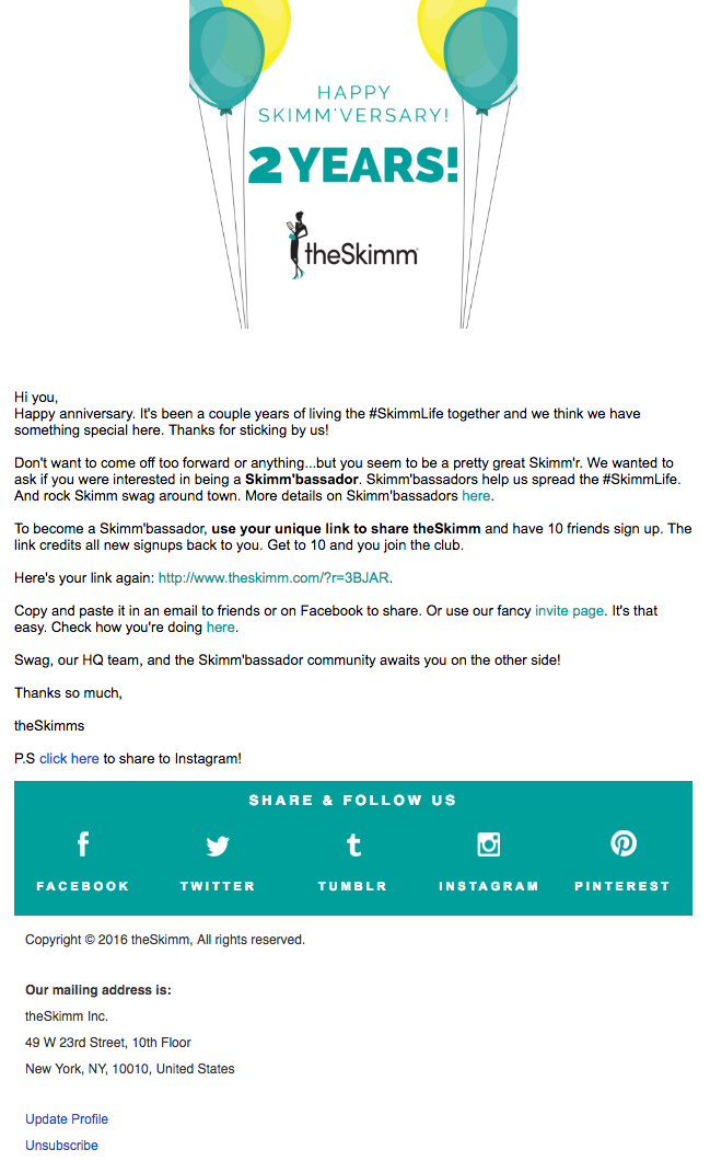 Beispiele herausragender E-Mail-Marketing-Kampagnen – theSkimm