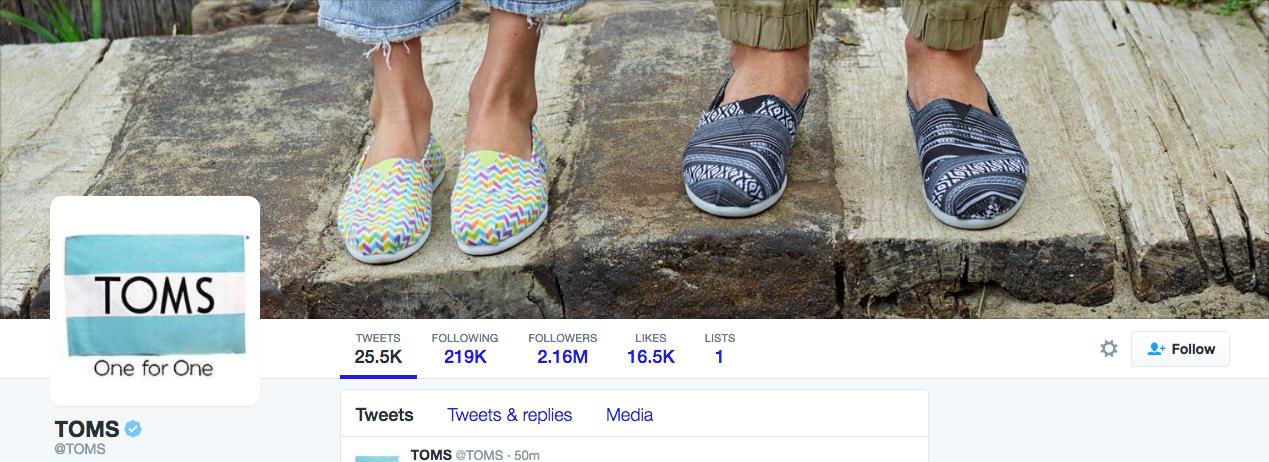 Beispiel eines gelungenen Twitter-Titelbilds - TOMS