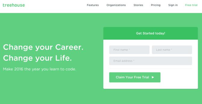 CTA auf der Homepage von Treehouse