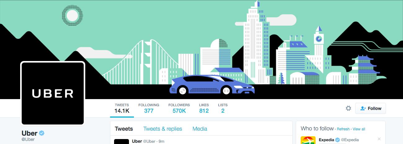 Beispiel eines gelungenen Twitter-Titelbilds - Uber