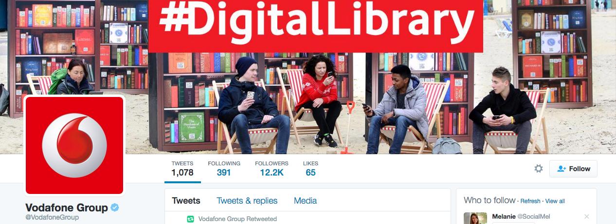 Beispiel eines gelungenen Twitter-Titelbilds - Vodafone Group