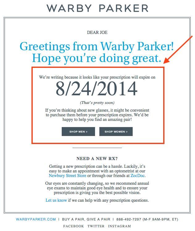 HubSpot - Ansprechende Marketing-E-Mails schreiben - Beispiel von Warby Parker