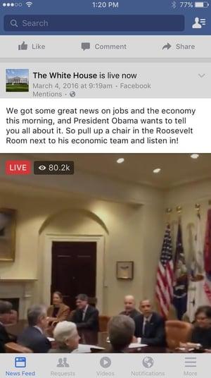 Beispiel einer Beschreibung von einer Video-Übertragung des Weißen Hauses.