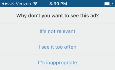 HubSpot-Angabe der Gründe für das Ausblenden von Instagram-Werbeanzeigen