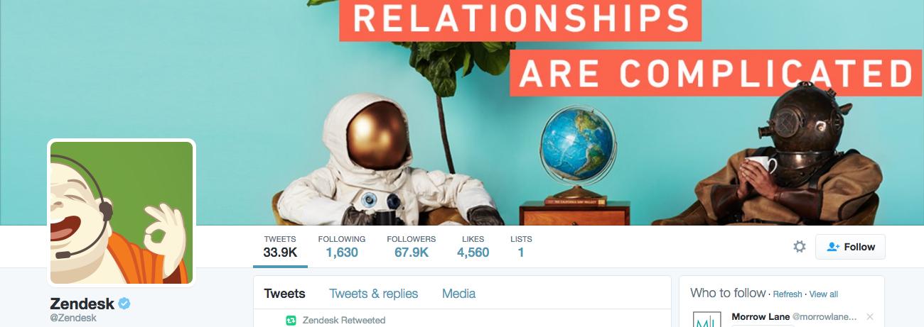 Beispiel eines gelungenen Twitter-Titelbilds - Zendesk