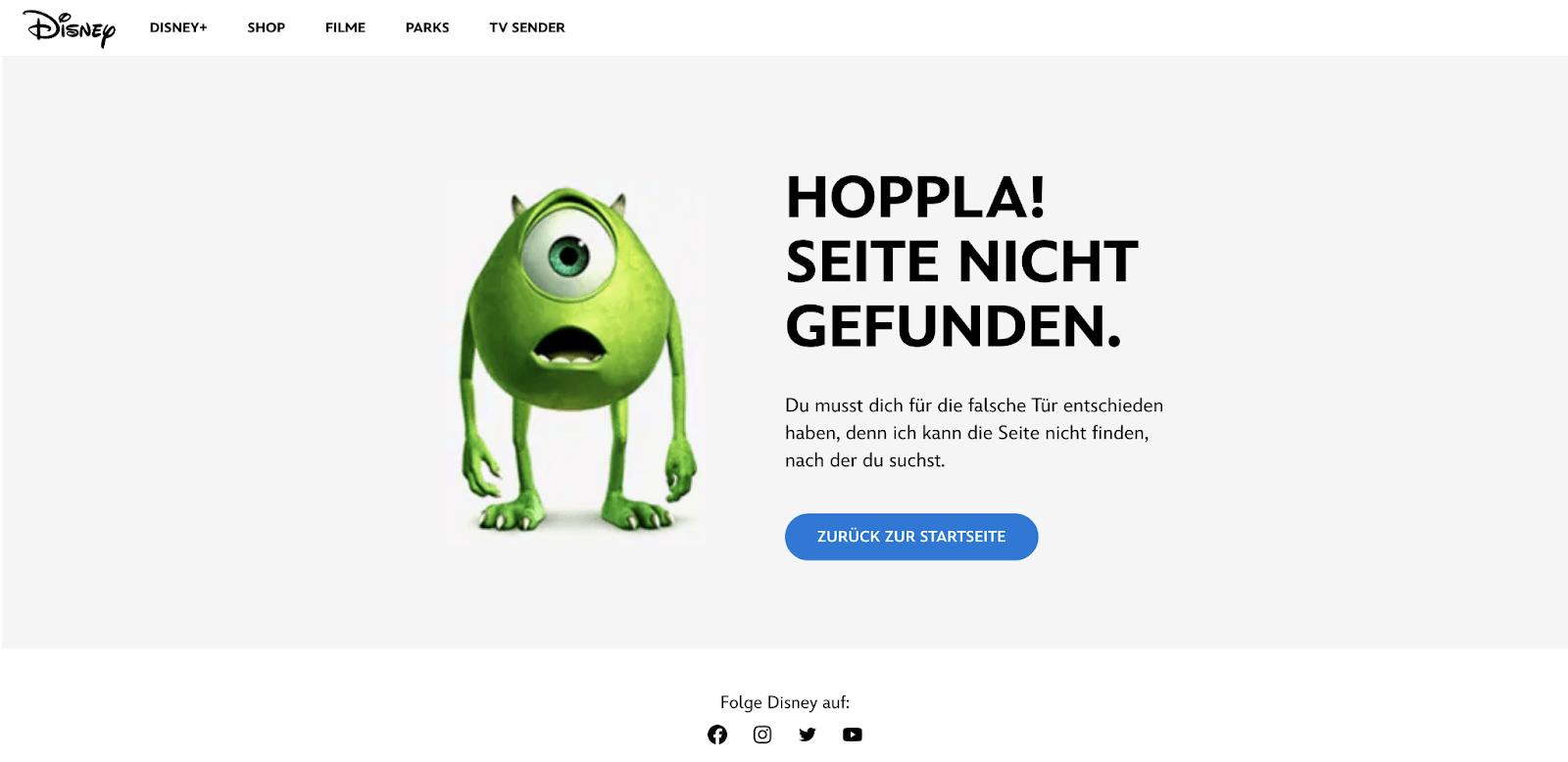 404-Seite von Disney