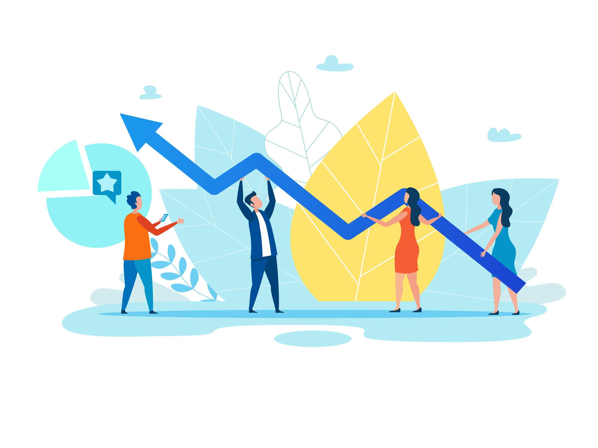 Illustration eines ansteigenden Graphs der Marketing Ziele darstellt