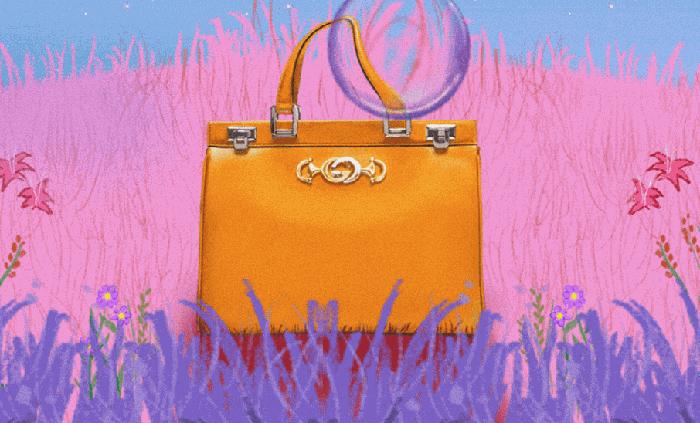 Tasche vor farbigem Hintergrund