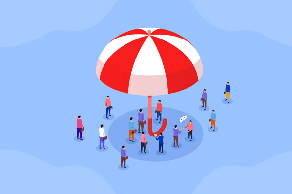 Menschen unter Schirm