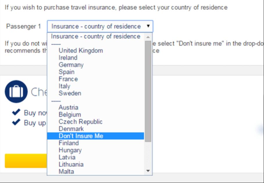 dark patterns auf der Ryanair Webseite
