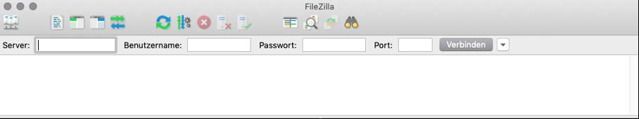 Benutzername und Passwort bei Filezilla eintragen und verbinden