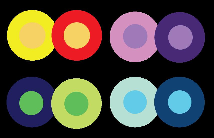 Farbkreise und verschiedene Kontraste